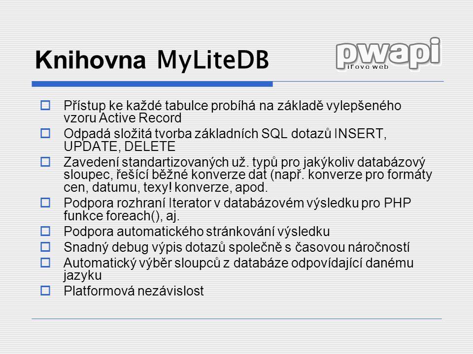 Knihovna MyLiteDB  Přístup ke každé tabulce probíhá na základě vylepšeného vzoru Active Record  Odpadá složitá tvorba základních SQL dotazů INSERT, UPDATE, DELETE  Zavedení standartizovaných už.
