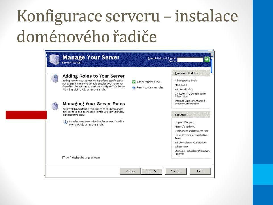 Konfigurace serveru – instalace doménového řadiče