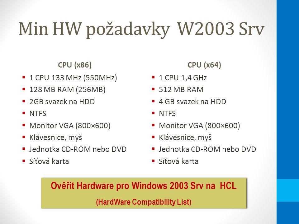 HW omezení W2003 Srv CPU (x86)  Max 4 CPU  Max 4 GB RAM CPU (x64)  Max 4 CPU  Max 4 GB RAM Ověřit Hardware pro Windows 2003 Srv na HCL (HardWare Compatibility List) Ověřit Hardware pro Windows 2003 Srv na HCL (HardWare Compatibility List)