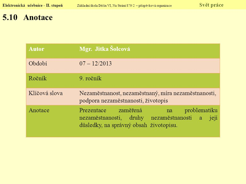 Elektronická učebnice - II. stupeň Základní škola Děčín VI, Na Stráni 879/2 – příspěvková organizace Svět práce 5.10 Anotace AutorMgr. Jitka Šolcová O