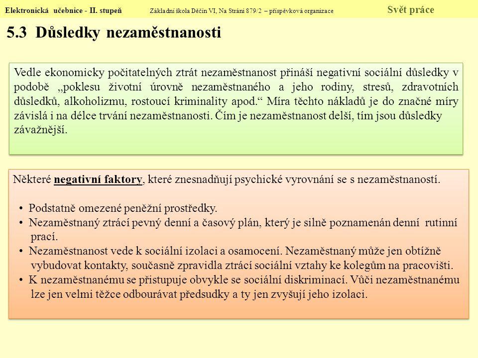 Elektronická učebnice - II. stupeň Základní škola Děčín VI, Na Stráni 879/2 – příspěvková organizace Svět práce Vedle ekonomicky počitatelných ztrát n