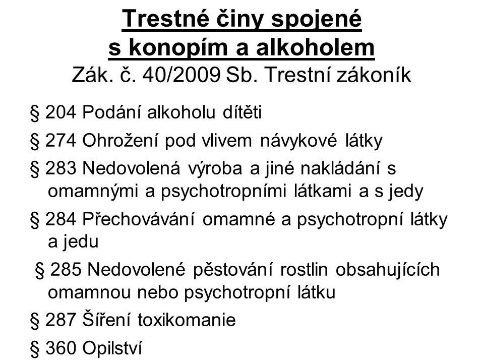 Trestné činy spojené s konopím a alkoholem Zák. č.