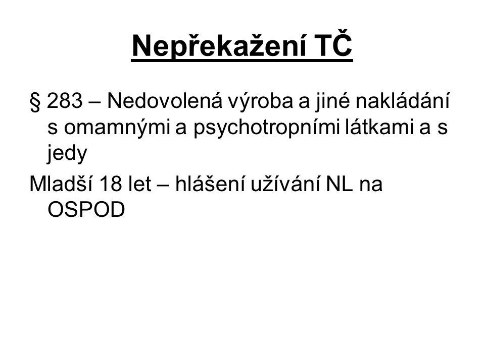 Nepřekažení TČ § 283 – Nedovolená výroba a jiné nakládání s omamnými a psychotropními látkami a s jedy Mladší 18 let – hlášení užívání NL na OSPOD
