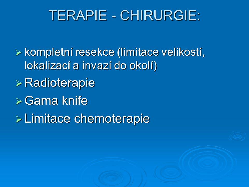TERAPIE - CHIRURGIE:  kompletní resekce (limitace velikostí, lokalizací a invazí do okolí)  Radioterapie  Gama knife  Limitace chemoterapie