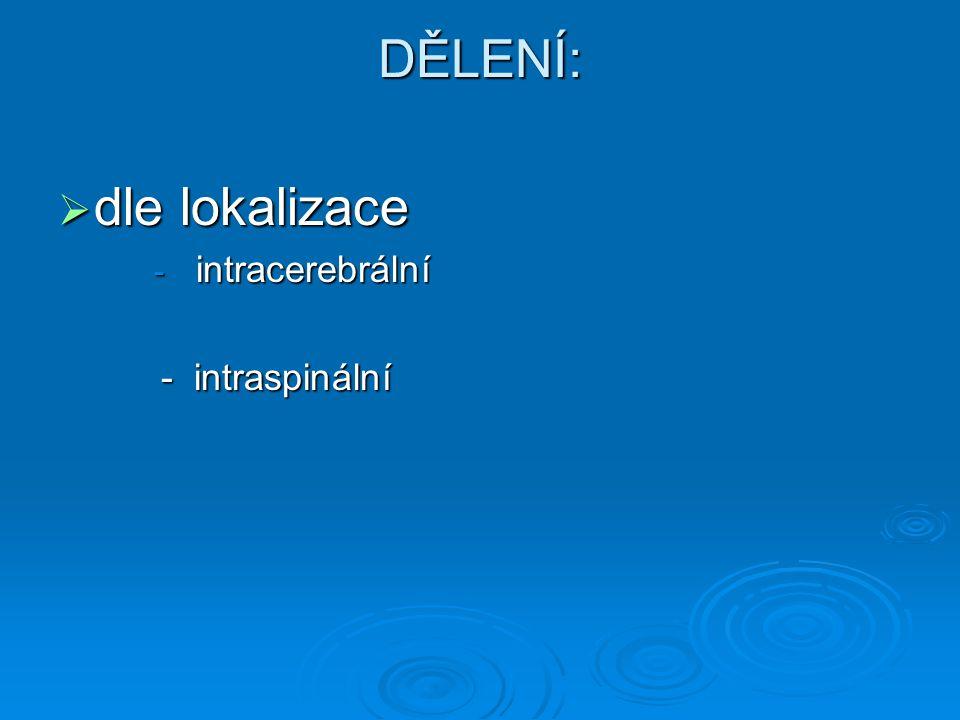 DĚLENÍ:  dle lokalizace - intracerebrální - intraspinální - intraspinální