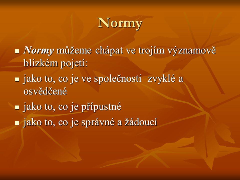 Normy Normy můžeme chápat ve trojím významově blízkém pojetí: Normy můžeme chápat ve trojím významově blízkém pojetí: jako to, co je ve společnosti zv