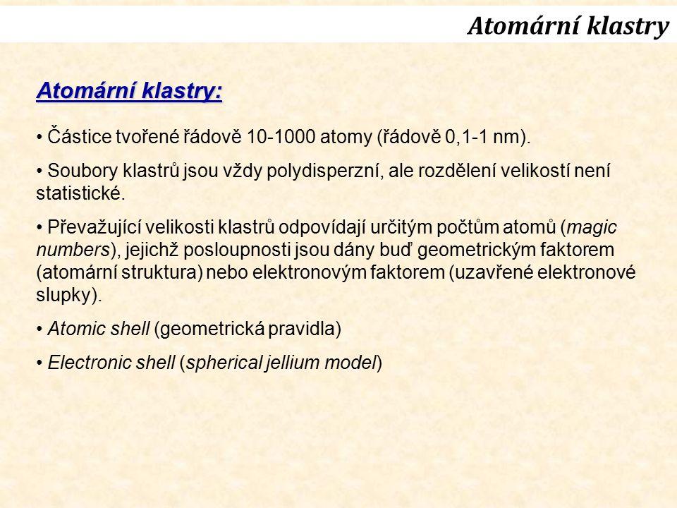 Atomární klastry Atomární klastry: Částice tvořené řádově 10-1000 atomy (řádově 0,1-1 nm). Soubory klastrů jsou vždy polydisperzní, ale rozdělení veli