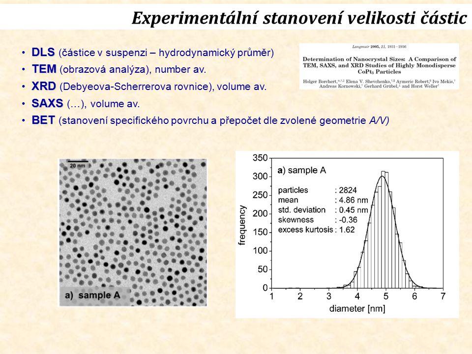 Experimentální stanovení velikosti částic DLS DLS (částice v suspenzi – hydrodynamický průměr) TEM TEM (obrazová analýza), number av. XRD XRD (Debyeov