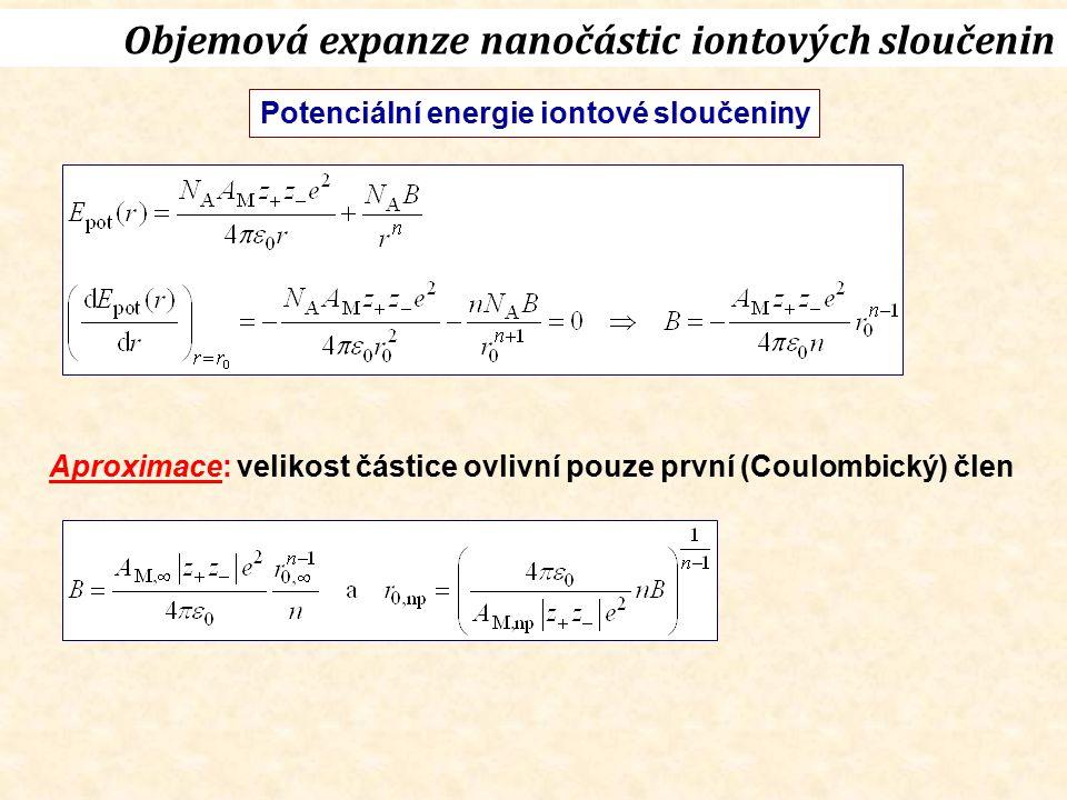 Objemová expanze nanočástic iontových sloučenin Potenciální energie iontové sloučeniny Aproximace: velikost částice ovlivní pouze první (Coulombický)