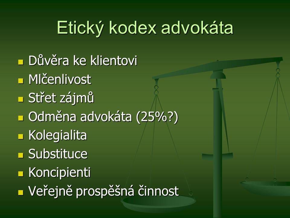 Etický kodex advokáta Důvěra ke klientovi Důvěra ke klientovi Mlčenlivost Mlčenlivost Střet zájmů Střet zájmů Odměna advokáta (25%?) Odměna advokáta (