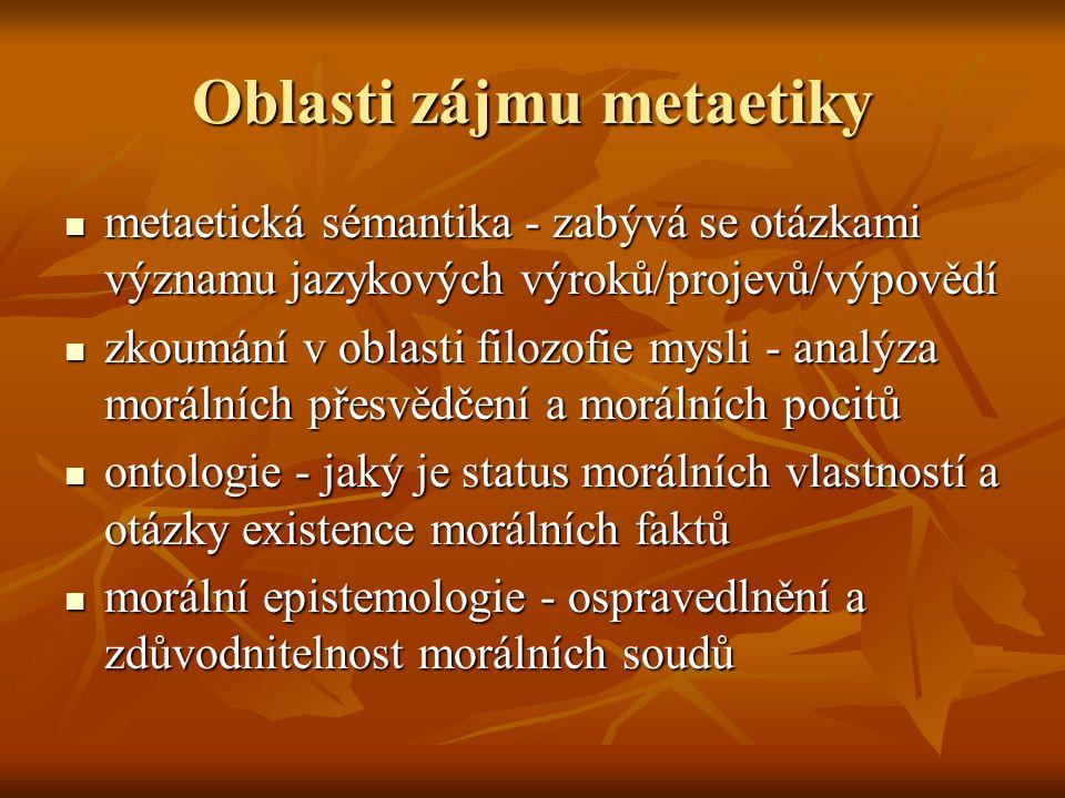 Oblasti zájmu metaetiky metaetická sémantika - zabývá se otázkami významu jazykových výroků/projevů/výpovědí metaetická sémantika - zabývá se otázkami