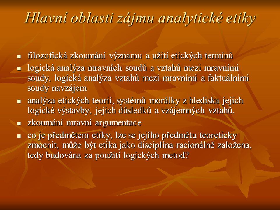 Hlavní oblasti zájmu analytické etiky filozofická zkoumání významu a užití etických termínů filozofická zkoumání významu a užití etických termínů logi