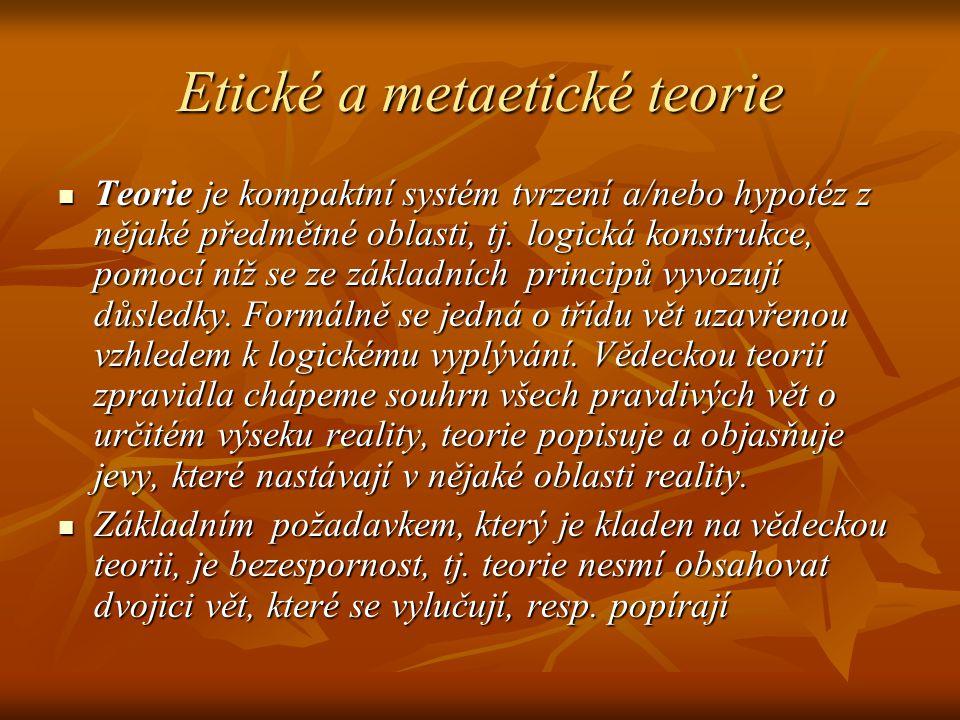 Etické a metaetické teorie Teorie je kompaktní systém tvrzení a/nebo hypotéz z nějaké předmětné oblasti, tj. logická konstrukce, pomocí níž se ze zákl