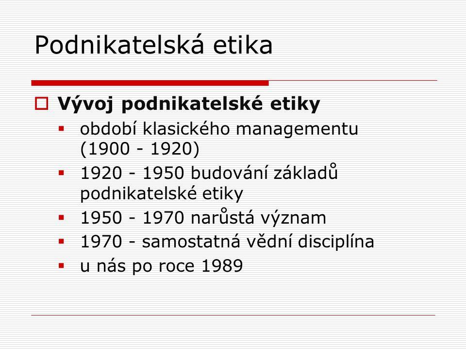 Podnikatelská etika  Vývoj podnikatelské etiky  období klasického managementu (1900 - 1920)  1920 - 1950 budování základů podnikatelské etiky  1950 - 1970 narůstá význam  1970 - samostatná vědní disciplína  u nás po roce 1989