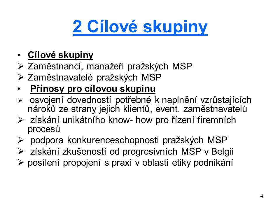 4 2 Cílové skupiny Cílové skupiny  Zaměstnanci, manažeři pražských MSP  Zaměstnavatelé pražských MSP Přínosy pro cílovou skupinu  osvojení dovedností potřebné k naplnění vzrůstajících nároků ze strany jejich klientů, event.