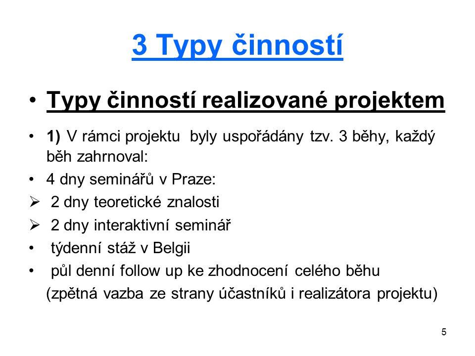 5 3 Typy činností Typy činností realizované projektem 1) V rámci projektu byly uspořádány tzv.