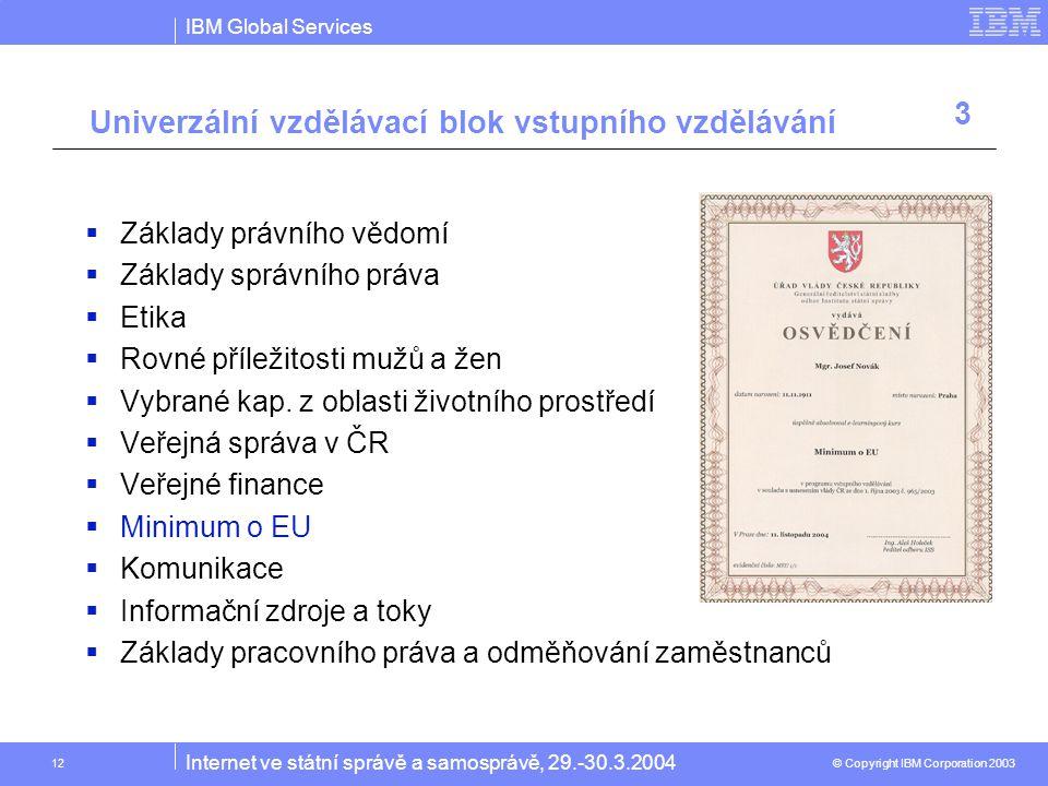 IBM Global Services © Copyright IBM Corporation 2003 Internet ve státní správě a samosprávě, 29.-30.3.2004 12  Základy právního vědomí  Základy správního práva  Etika  Rovné příležitosti mužů a žen  Vybrané kap.