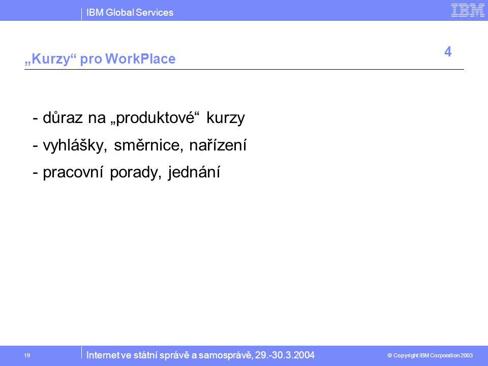 """IBM Global Services © Copyright IBM Corporation 2003 Internet ve státní správě a samosprávě, 29.-30.3.2004 19 """"Kurzy pro WorkPlace -důraz na """"produktové kurzy -vyhlášky, směrnice, nařízení -pracovní porady, jednání 4"""