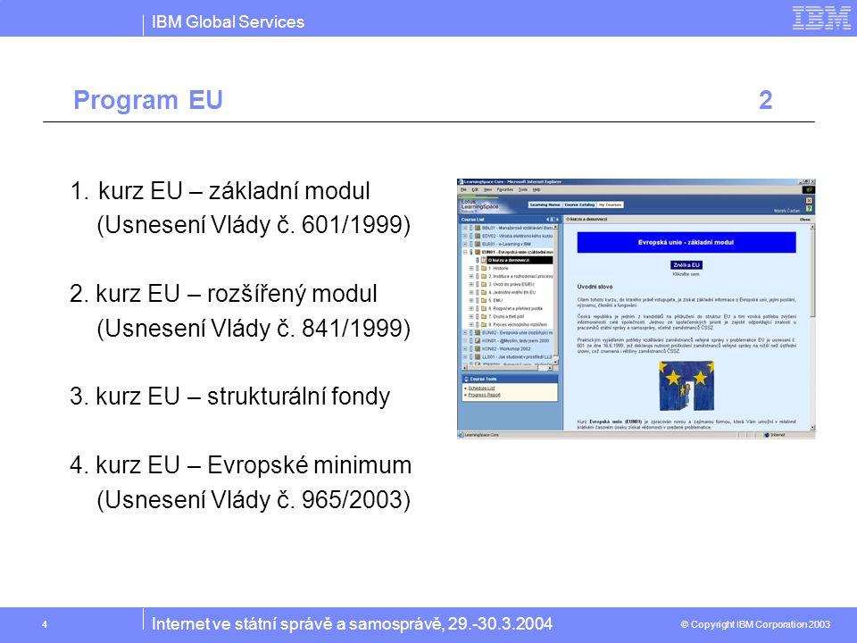 IBM Global Services © Copyright IBM Corporation 2003 Internet ve státní správě a samosprávě, 29.-30.3.2004 4 1.kurz EU – základní modul (Usnesení Vlády č.