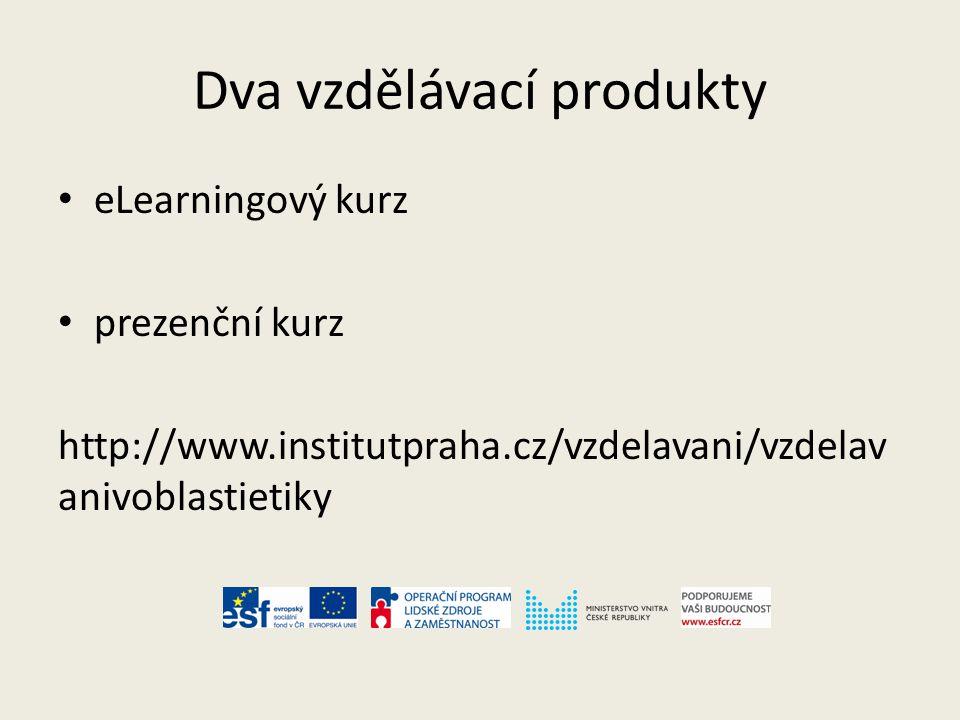 Dva vzdělávací produkty eLearningový kurz prezenční kurz http://www.institutpraha.cz/vzdelavani/vzdelav anivoblastietiky