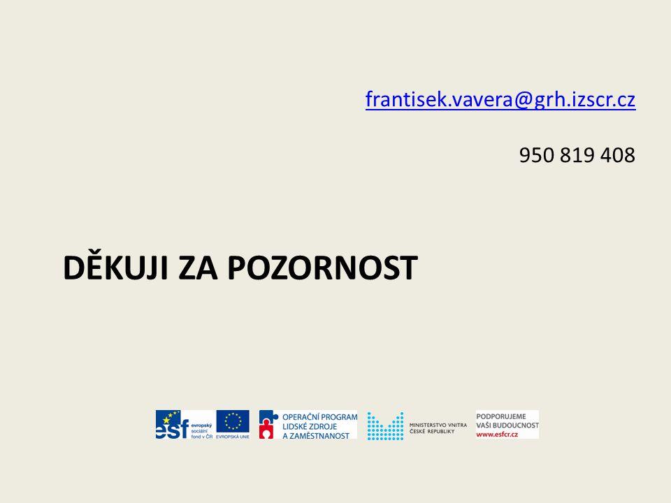 DĚKUJI ZA POZORNOST frantisek.vavera@grh.izscr.cz 950 819 408
