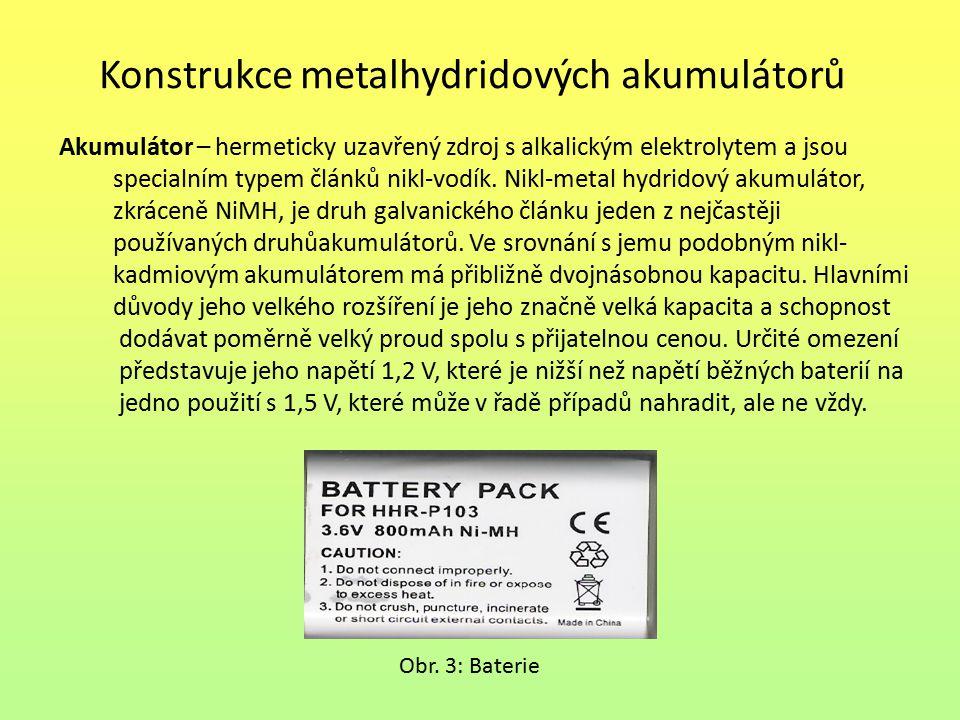 Konstrukce metalhydridových akumulátorů Akumulátor – hermeticky uzavřený zdroj s alkalickým elektrolytem a jsou specialním typem článků nikl-vodík. Ni