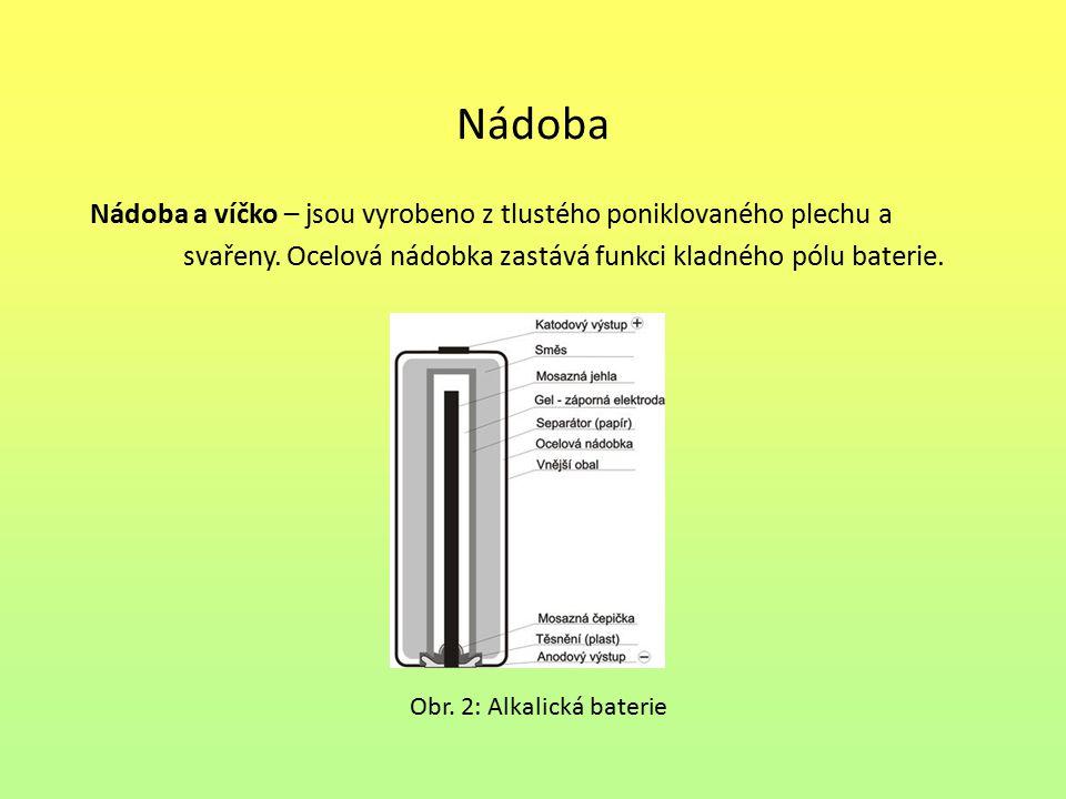 Nádoba Nádoba a víčko – jsou vyrobeno z tlustého poniklovaného plechu a svařeny. Ocelová nádobka zastává funkci kladného pólu baterie. Obr. 2: Alkalic