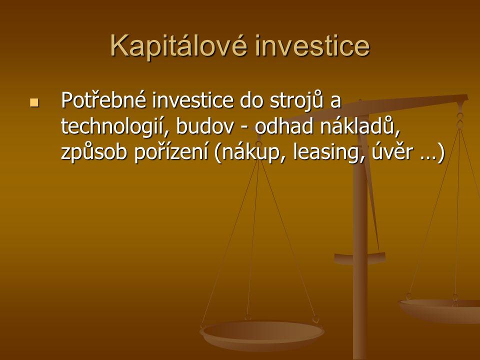 Kapitálové investice Potřebné investice do strojů a technologií, budov - odhad nákladů, způsob pořízení (nákup, leasing, úvěr …) Potřebné investice do