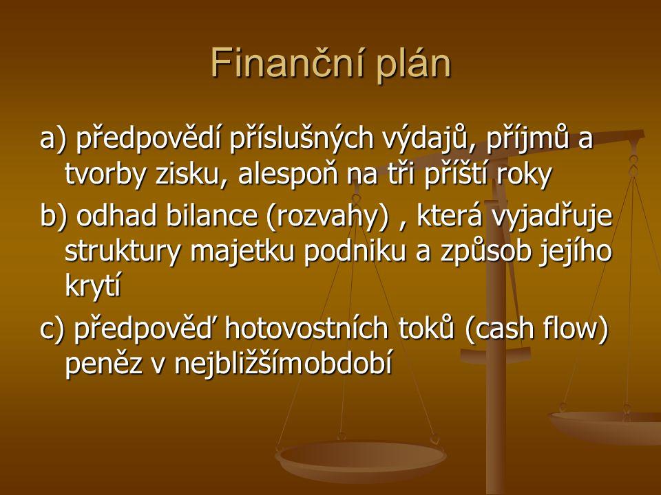 Finanční plán a) předpovědí příslušných výdajů, příjmů a tvorby zisku, alespoň na tři příští roky b) odhad bilance (rozvahy), která vyjadřuje struktur