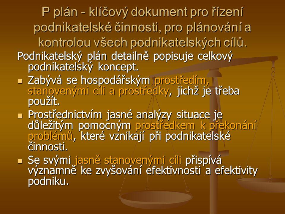 P plán - klíčový dokument pro řízení podnikatelské činnosti, pro plánování a kontrolou všech podnikatelských cílů. Podnikatelský plán detailně popisuj