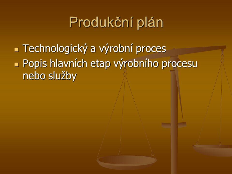 Produkční plán Technologický a výrobní proces Technologický a výrobní proces Popis hlavních etap výrobního procesu nebo služby Popis hlavních etap výr