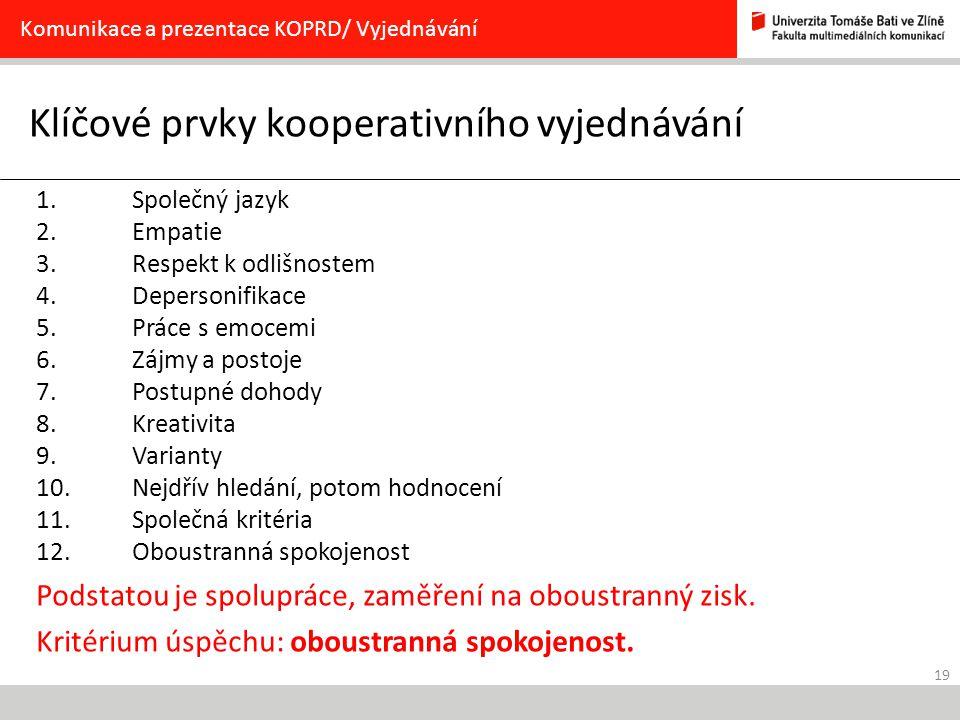 19 Klíčové prvky kooperativního vyjednávání Komunikace a prezentace KOPRD/ Vyjednávání 1. Společný jazyk 2. Empatie 3. Respekt k odlišnostem 4. Depers
