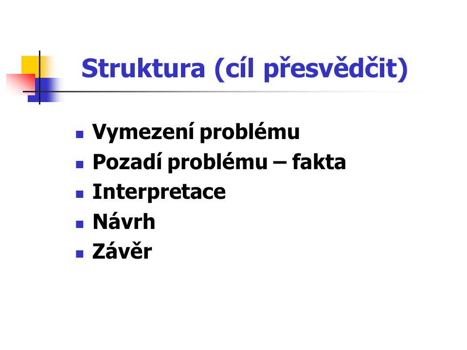 Struktura (cíl přesvědčit) Vymezení problému Pozadí problému – fakta Interpretace Návrh Závěr