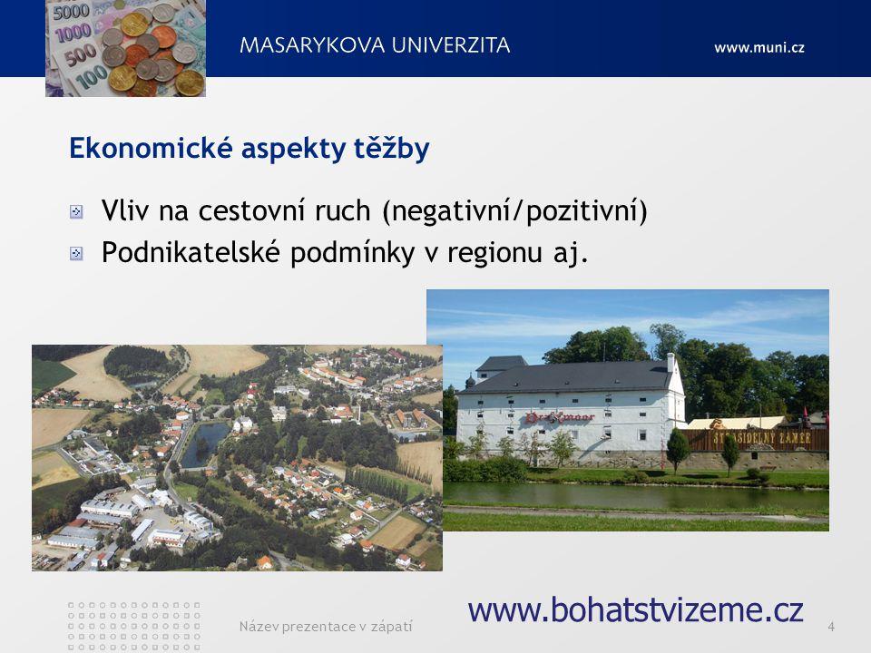 Název prezentace v zápatí4 Ekonomické aspekty těžby Vliv na cestovní ruch (negativní/pozitivní) Podnikatelské podmínky v regionu aj. www.bohatstvizeme