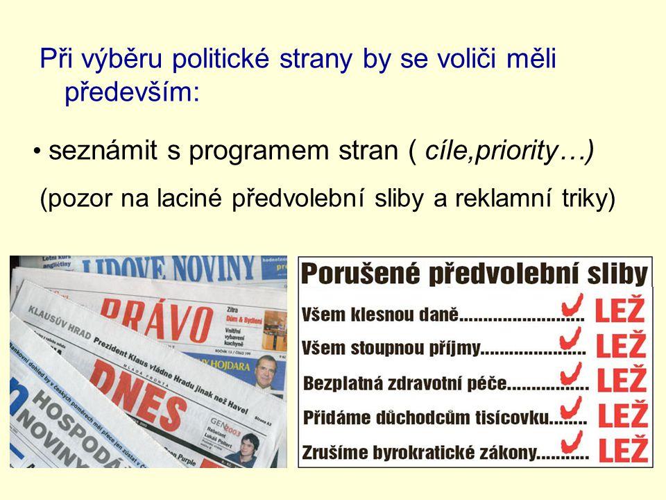 Při výběru politické strany by se voliči měli především: seznámit s programem stran ( cíle,priority…) (pozor na laciné předvolební sliby a reklamní triky)