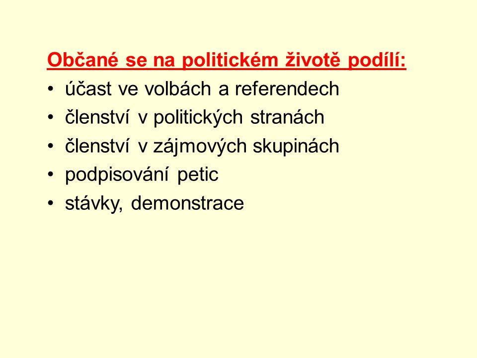 Občané se na politickém životě podílí: účast ve volbách a referendech členství v politických stranách členství v zájmových skupinách podpisování petic stávky, demonstrace