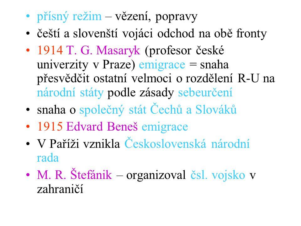 přísný režim – vězení, popravy čeští a slovenští vojáci odchod na obě fronty 1914 T. G. Masaryk (profesor české univerzity v Praze) emigrace = snaha p