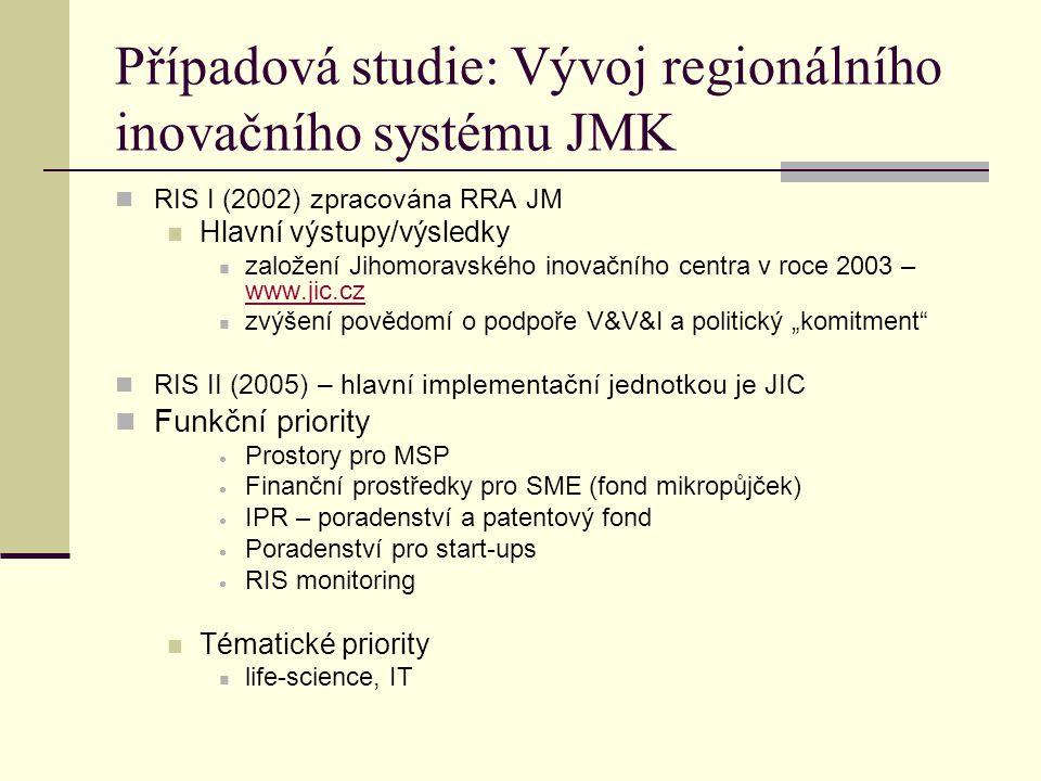 """Případová studie: Vývoj regionálního inovačního systému JMK RIS I (2002) zpracována RRA JM Hlavní výstupy/výsledky založení Jihomoravského inovačního centra v roce 2003 – www.jic.cz www.jic.cz zvýšení povědomí o podpoře V&V&I a politický """"komitment RIS II (2005) – hlavní implementační jednotkou je JIC Funkční priority  Prostory pro MSP  Finanční prostředky pro SME (fond mikropůjček)  IPR – poradenství a patentový fond  Poradenství pro start-ups  RIS monitoring Tématické priority life-science, IT"""