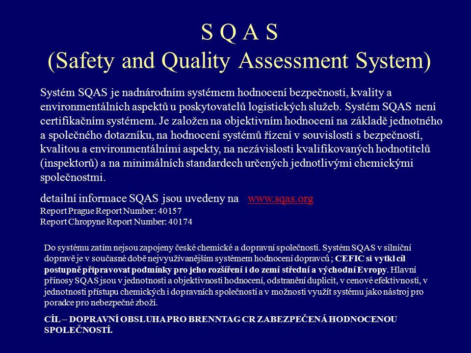 S Q A S (Safety and Quality Assessment System) Systém SQAS je nadnárodním systémem hodnocení bezpečnosti, kvality a environmentálních aspektů u poskyt