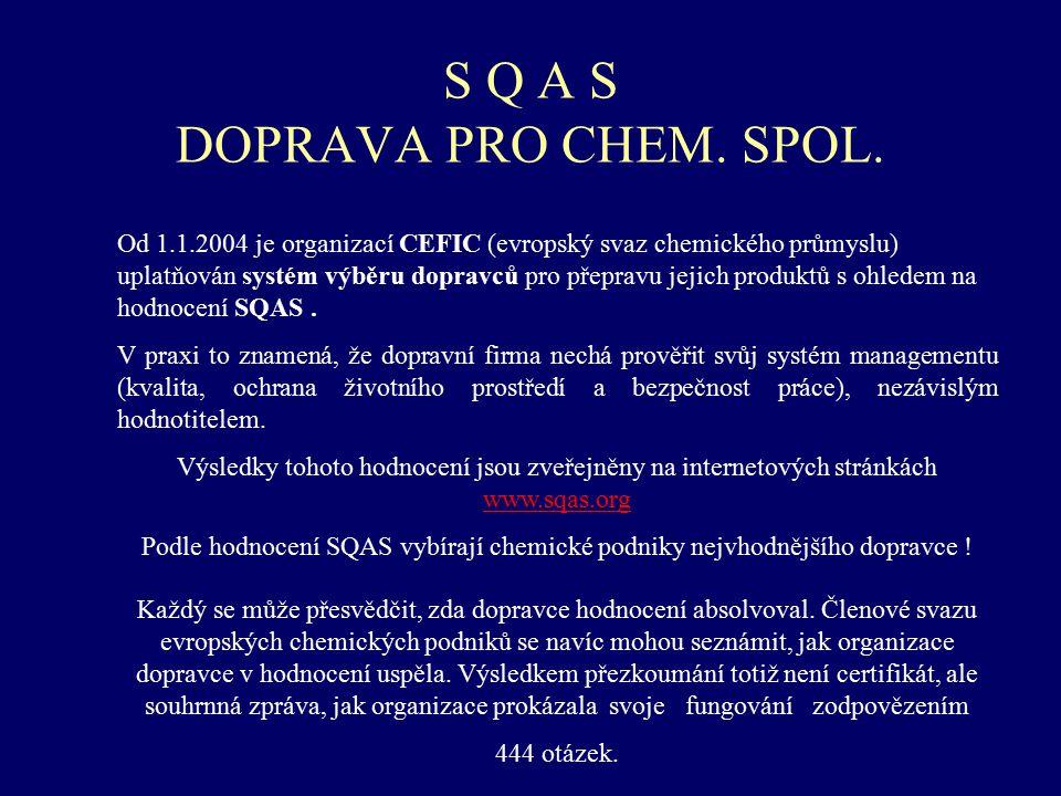 S Q A S DOPRAVA PRO CHEM. SPOL. Od 1.1.2004 je organizací CEFIC (evropský svaz chemického průmyslu) uplatňován systém výběru dopravců pro přepravu jej