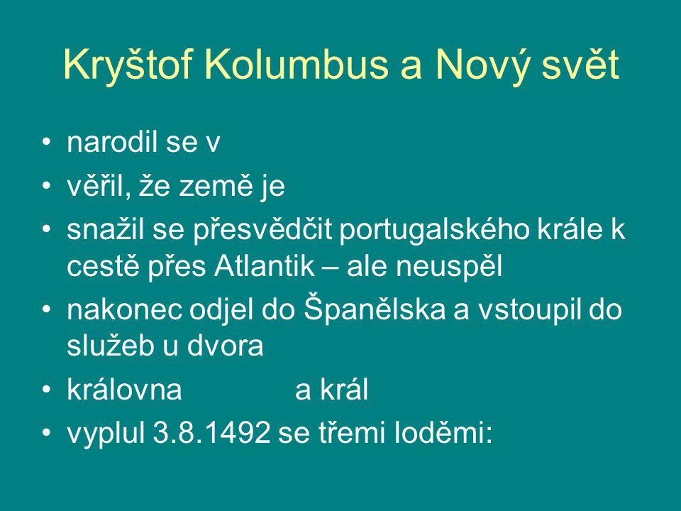 Kryštof Kolumbus a Nový svět narodil se v Janově, v Itálii věřil, že země je kulatá snažil se přesvědčit portugalského krále k cestě přes Atlantik – a