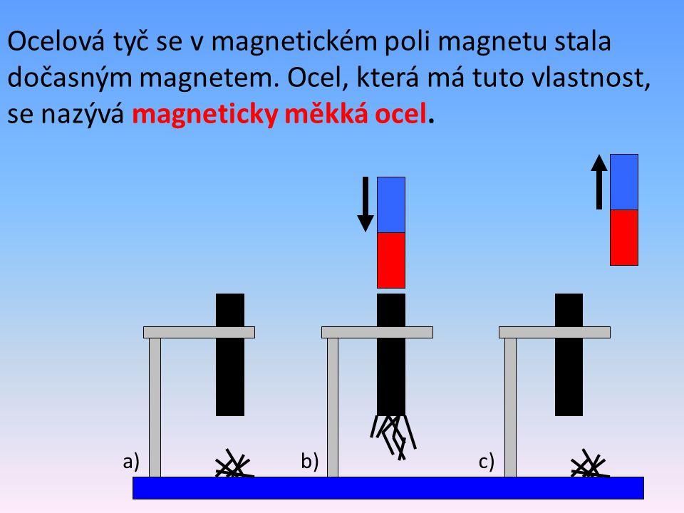 a)b)c) Ocelová tyč se v magnetickém poli magnetu stala dočasným magnetem. Ocel, která má tuto vlastnost, se nazývá magneticky měkká ocel.
