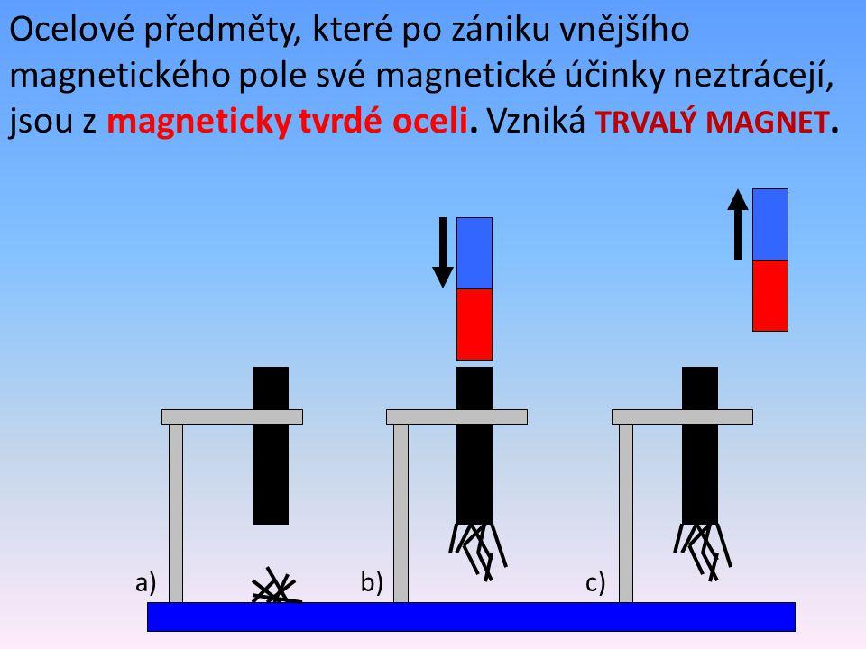 Ověření magnetických pólů zmagnetované tyče: Pomocí magnetky se můžeme přesvědčit, že dočasně zmagnetovaná ocelová tyč má na konci, který je blíže k magnetu, pól nesouhlasný s pólem tohoto konce magnetu.
