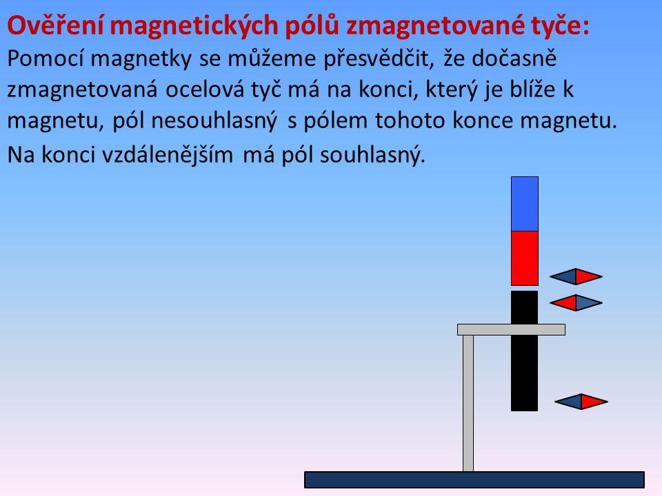 Ověření magnetických pólů zmagnetované tyče: Pomocí magnetky se můžeme přesvědčit, že dočasně zmagnetovaná ocelová tyč má na konci, který je blíže k m