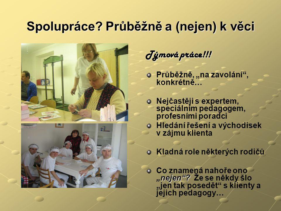 """Spolupráce? Průběžně a (nejen) k věci Týmová práce!!! Průběžně, """"na zavolání"""", konkrétně… Nejčastěji s expertem, speciálním pedagogem, profesními pora"""