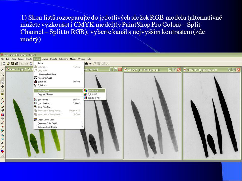 1) Sken listů rozseparujte do jedotlivých složek RGB modelu (alternativně můžete vyzkoušet i CMYK model)(v PaintShop Pro Colors – Split Channel – Split to RGB); vyberte kanál s nejvyšším kontrastem (zde modrý)