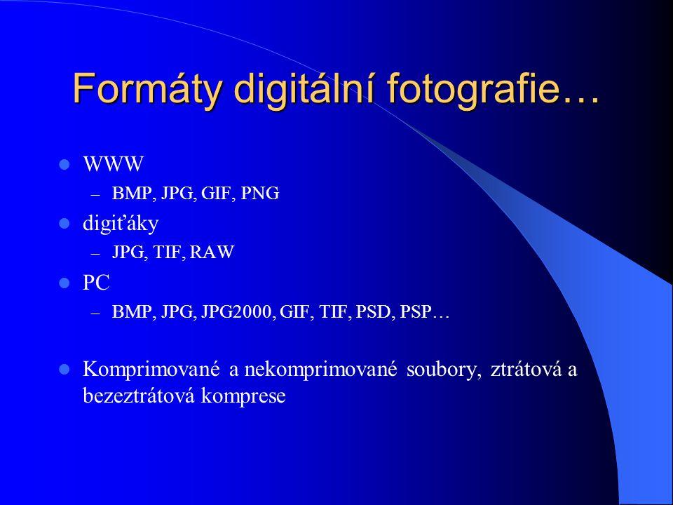 Formáty digitální fotografie… WWW – BMP, JPG, GIF, PNG digiťáky – JPG, TIF, RAW PC – BMP, JPG, JPG2000, GIF, TIF, PSD, PSP… Komprimované a nekomprimované soubory, ztrátová a bezeztrátová komprese