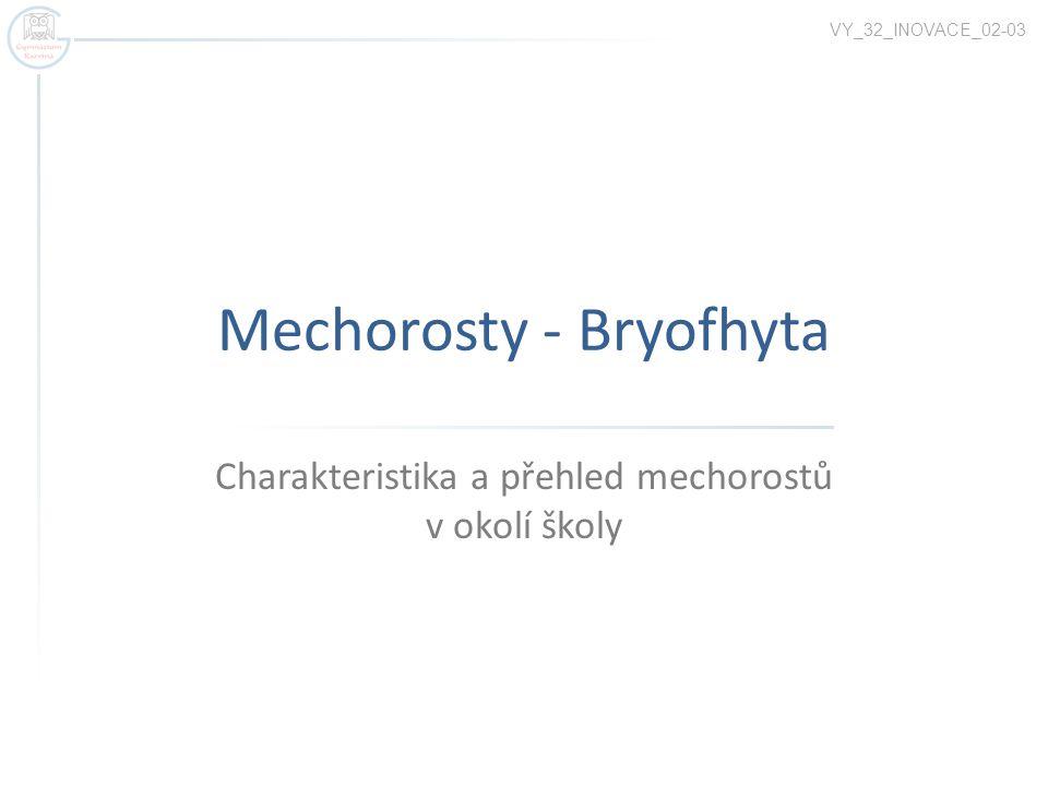 Mechorosty - Bryofhyta Charakteristika a přehled mechorostů v okolí školy VY_32_INOVACE_02-03