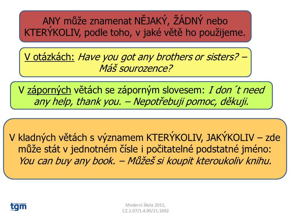 Moderní škola 2011, CZ.1.07/1.4.00/21.1692 V záporných větách se záporným slovesem: I don´t need any help, thank you. – Nepotřebuji pomoc, děkuji. ANY