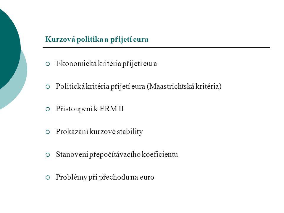 Kurzová politika a přijetí eura  Ekonomická kritéria přijetí eura  Politická kritéria přijetí eura (Maastrichtská kritéria)  Přistoupení k ERM II 